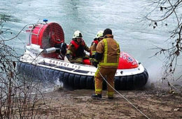 Search and rescue hovercraft in action