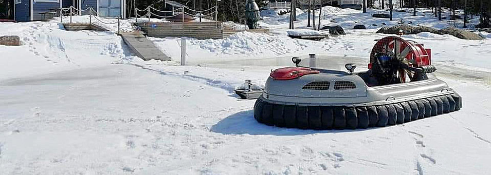 Twin engine Hovercraft on frozen lake, hovercraft for sale